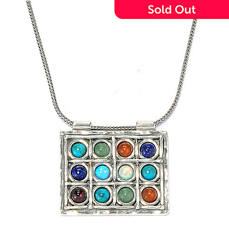 134-401 - Passage to Israel Sterling Silver 18'' Multi Gemstone Rectangle Necklace w/ 2'' Extender