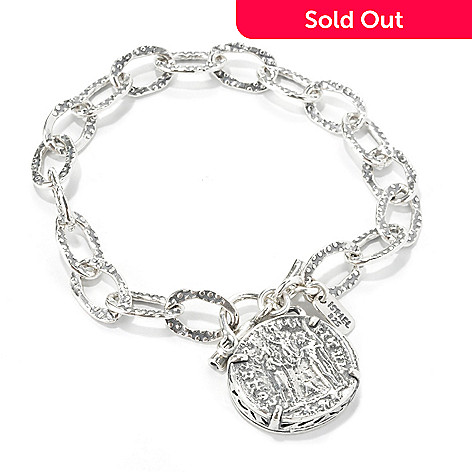134-407 - Passage to Israel Sterling Silver 7.5'' Textured Coin Replica Toggle Bracelet