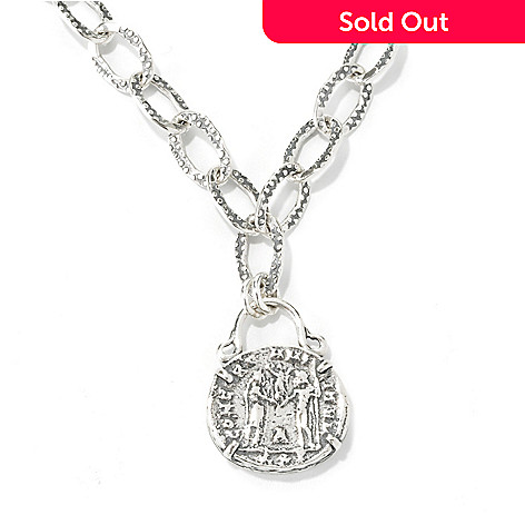 134-408 - Passage to Israel™ Sterling Silver 18'' Coin Replica Oval Link Necklace, 31.6 grams