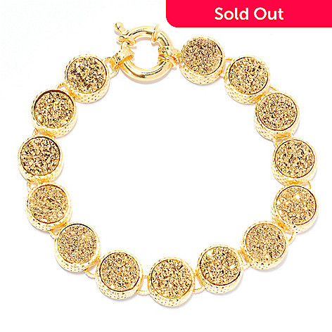 134-431 - Portofino 18K Gold Embraced™ 7.25'' Round Drusy Diamond Cut Link Bracelet