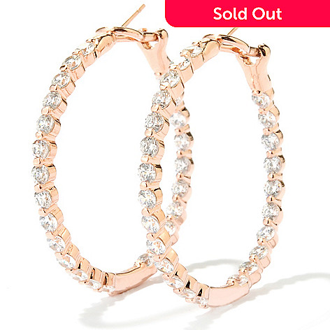134-464 - Brilliante® 1.5'' 4.08 DEW Simulated Diamond Inside-out Hoop Earrings w/ Omega Backs