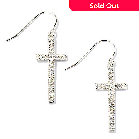 134-465 - Brilliante® 1.25'' Platinum Embraced™ Simulated Diamond Round Cut Cross Dangle Earrings