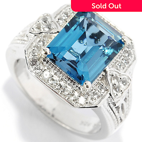 134-469 - NYC II® 4.81ctw London Blue Topaz & White Topaz Halo Ring