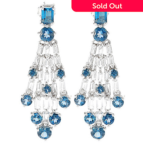 134-470 - NYC II 1.75'' 8.70ctw London Blue Topaz & White Topaz Chandelier Earrings