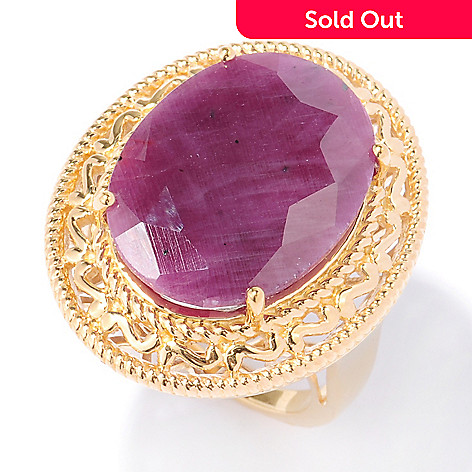 134-471 - NYC II™ 20 x 15mm Oval Indian Ruby Scrollwork Ring