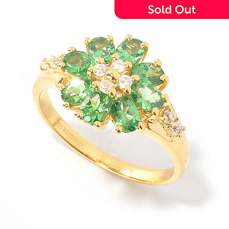 134-483 - NYC II™ Oval Gemstone & White Zircon Flower Ring