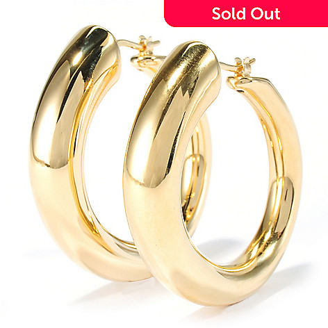 134-497 - Portofino 18K Gold Embraced™ 1.5'' High Polished Hoop Earrings
