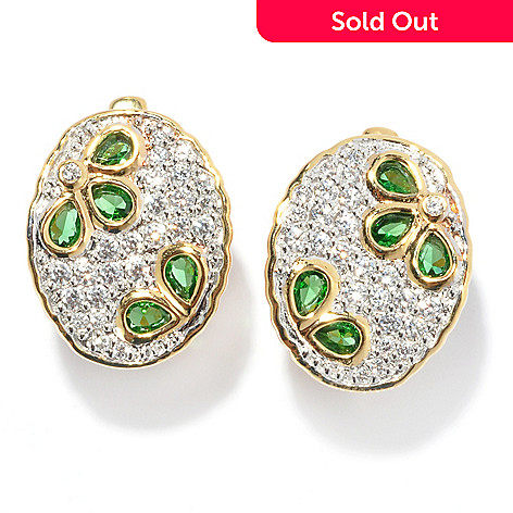 134-508 - Brilliante® Gold Embraced™ Simulated Chrome Diopside Oval Flower Earrings