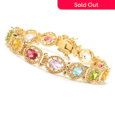 134-513 - Brilliante® Gold Embraced™ Oval Multi Color Simulated Gemstone Line Bracelet