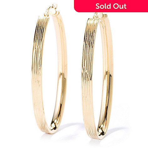 134-530 - Portofino 18K Gold Embraced™ 2'' Polished & Etched Elongated Hoop Earrings