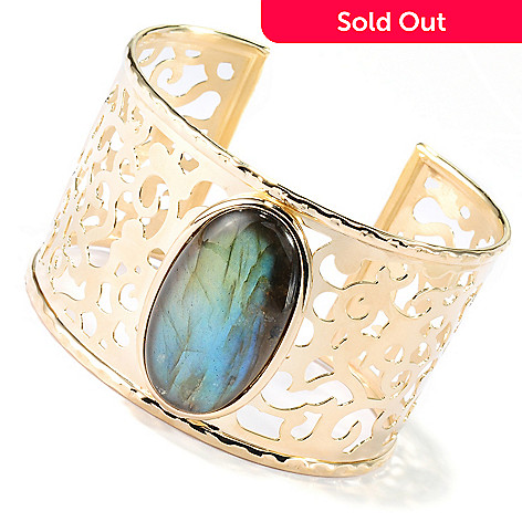 134-531 - Portofino Gold Embraced™ 7'' 35mm Labradorite Openwork Detail Wide Cuff Bracelet