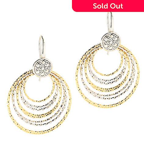 134-547 - Portofino 18K Gold Embraced™ 1'' Diamond Cut Cascading Hoop Earrings
