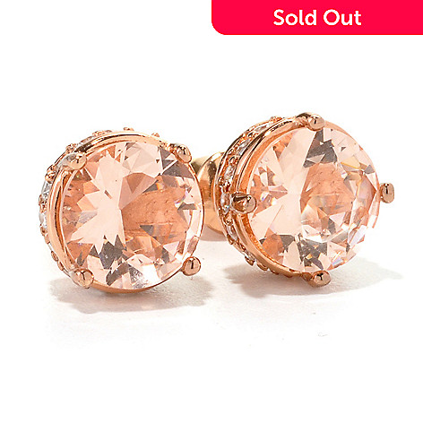 134-559 - Brilliante® Rose Gold Embraced&trade 4.56 DEW Simulated Morganite Stud Earrings