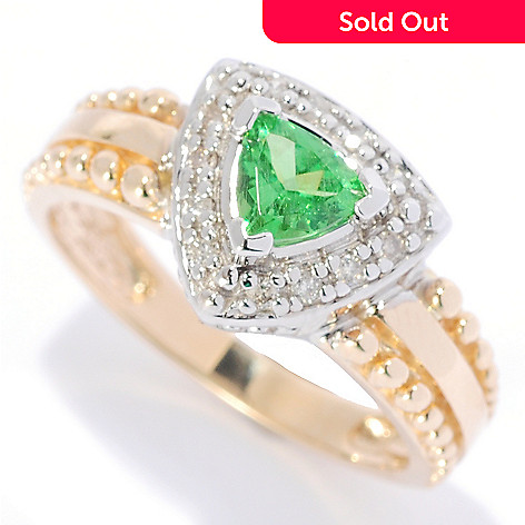 134-564 - The Vault from Gems en Vogue 14K Gold Trillion Tsavorite & Diamond Ring