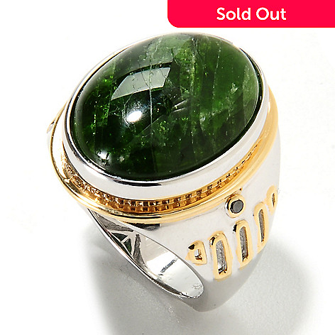134-565 - Men's en Vogue 20 x 15mm Oval Chrome Diopside & Black Diamond Ring