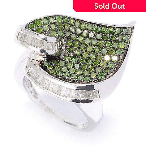 134-589 - Diamond Treasures® Sterling Silver 1.57ctw Green & White Diamond Leaf Ring