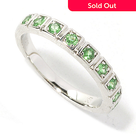 134-603 - Michelle Albala Exotic Gemstone Polished & Brushed Stack Band Ring