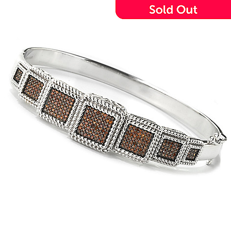134-627 - Diamond Treasures® Sterling Silver 0.75ctw Fancy Color Diamond Multi Level Bangle Bracelet