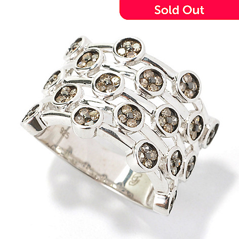 134-636 - Diamond Treasures Sterling Silver 0.75ctw Fancy Color Diamond Multi Row Ring