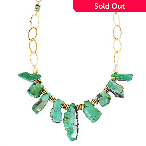 134-650 - Elements by Sarkash Copper 18'' Freeform Green Turquoise Bib Necklace