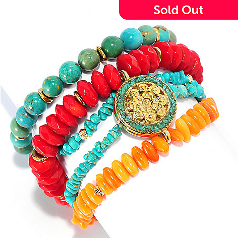 134-652 - Elements by Sarkash 7.75'' Turquoise & Bamboo Coral Five-Strand Medallion Bracelet