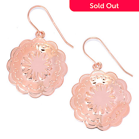 134-655 - Elements by Sarkash Copper 1.5'' Textured Flower Scalloped Edge Drop Earrings