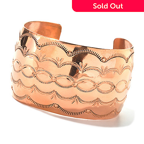 134-657 - Elements by Sarkash Copper 6.75'' Polished & Etched Cuff Bracelet