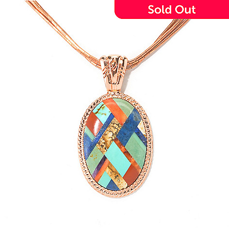 134-659 - Elements by Sarkash Copper Multi-Gem Oval Inlay Pendant w/ Three-Strand Chain