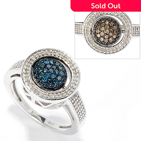 134-737 - Diamond Treasures® Sterling Silver 0.45ctw Blue, Champagne & White Diamond Flip Ring