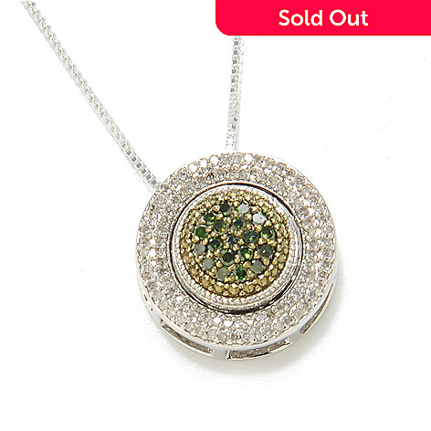 134-738 - Diamond Treasures® Sterling Silver 0.53ctw Fancy Color Diamond Flip Pendant w/ Chain