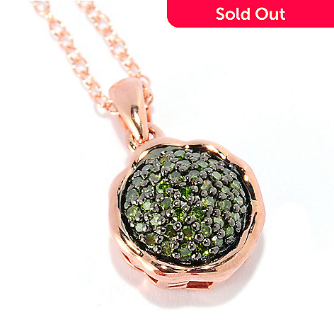 134-751 - Diamond Treasures® 14K Rose Gold Embraced™ 0.21ctw Green Diamond ''Love'' Pendant