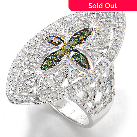 134-753 - Sterling Silver 0.35ctw White & Fancy Color Diamond Openwork Marquise Ring