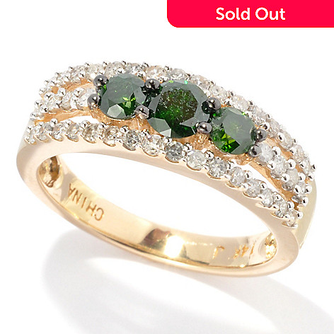 134-756 - Diamond Treasures 14K Gold 1.00ctw Green & White Diamond Three-Row Ring
