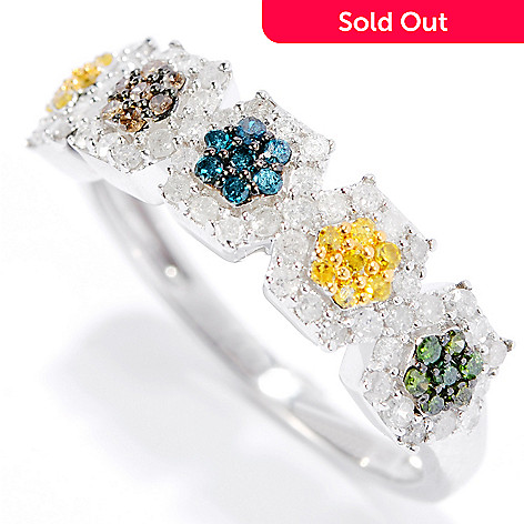 134-810 - Sterling Silver 0.48ctw Fancy Color Diamond Flower Band Ring