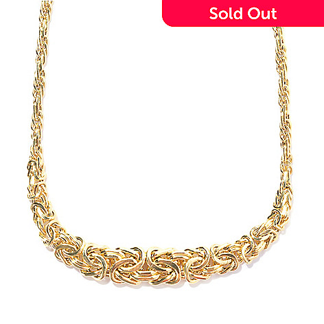 134-822 - Italian Designs with Stefano 14K Gold 18.25'' Graduated Byzantine Necklace, 6.46 grams