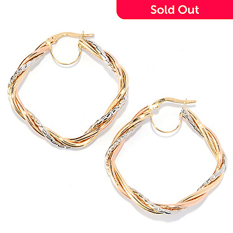 134-832 - Italian Designs with Stefano 14K Tri-color Gold 1.25'' Curved Hoop Earrings
