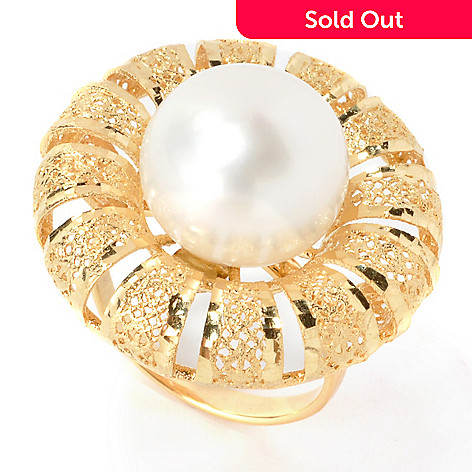 134-835 - Italian Designs with Stefano 14K Gold 12mm Cultured Pearl Flower Ring