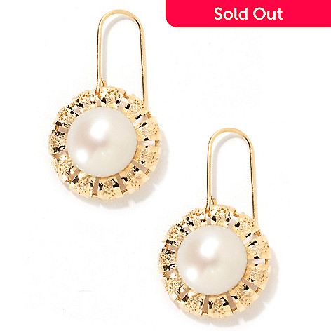 134-837 - Italian Designs with Stefano 14K Gold 12mm Cultured Pearl Flower Earrings