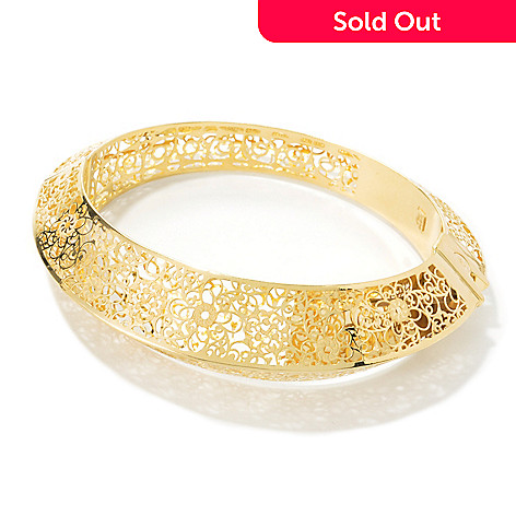 134-840 - Stefano Oro 14K Gold 6.75'' Filigree Hinged Bangle Bracelet, 11.7 grams