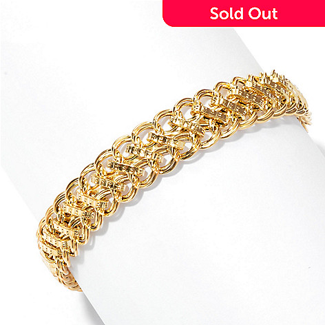 134-847 - Italian Designs with Stefano 14K Gold 7.5'' Fancy Chain Link Bracelet