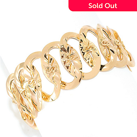 134-854 - Italian Designs with Stefano 14K Gold 7.75'' Ripple Textured Oval Link Bracelet, 14.06 grams