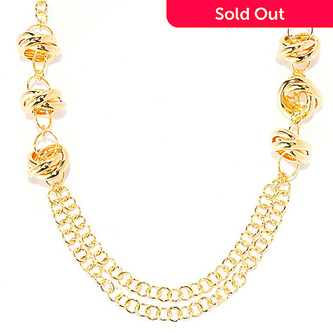 134-862 - Portofino 18K Gold Embraced™ 22'' Polished Status Link Station Necklace