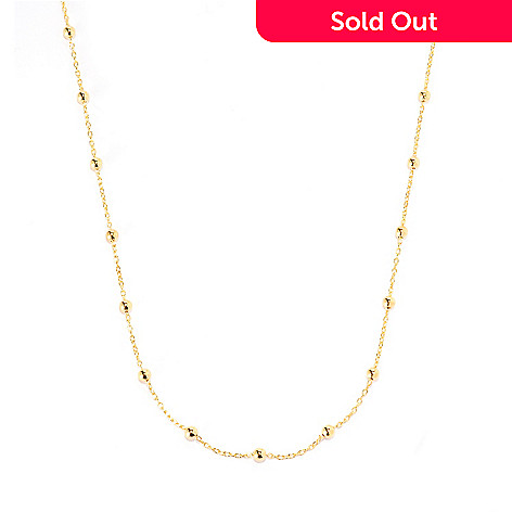 134-865 - Portofino 18K Gold Embraced™ 29.75'' Polished Bead Rolo Link Station Necklace