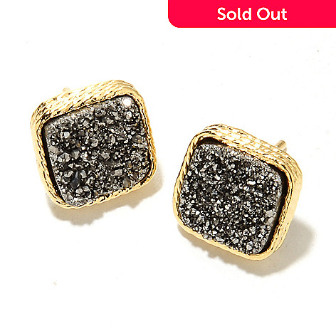 134-868 - Portofino 18K Gold Embraced™ 10mm Square Drusy Stud Earrings
