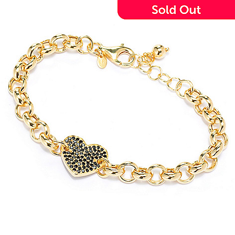 134-880 - Portofino 18K Gold Embraced™ 7.5'' 1.11ctw Gemstone Heart Rolo Link Bracelet