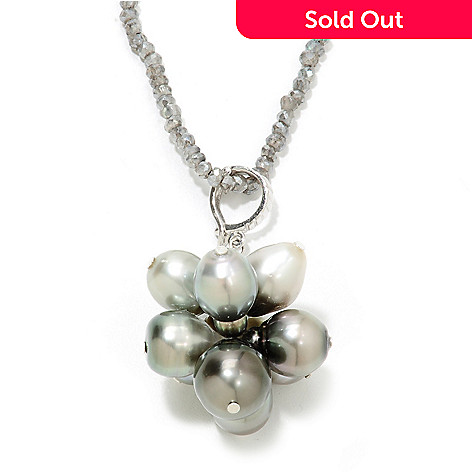 134-896 - Sterling Silver 9-12mm Tahitian Cultured Pearl Enhancer w/ 36'' Labradorite Chain