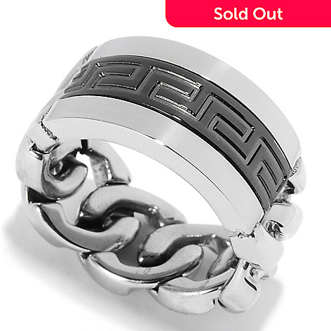 134-921 - Steel Impact Men's Two-tone Stainless Steel Curb Link Flex Band Ring
