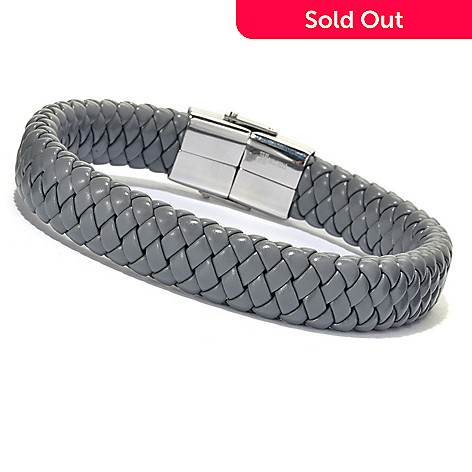 134-923 - Steeltime Men's Grey Braided Bracelet