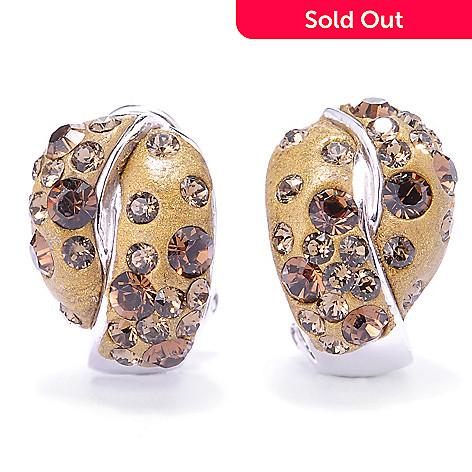 134-928 - Adaire™ Sterling Silver Huggie Hoop Earrings Made w/ Swarovski® Elements