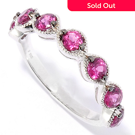 134-937 - Gem Treasures® Sterling Silver Fancy Gemstone Intertwined Stack Band Ring
